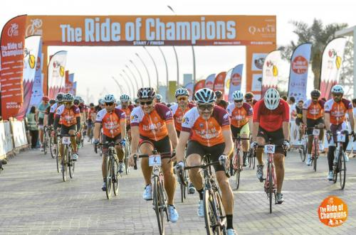 ROCDoha2017-ROC2017 Start line for the fast riders yesterday, within the Education City grounds, at the Ride of Champions (www.rocdoha.qa), organised by Qatar Cyclist Centre and presented by Qatar Tourism Authority